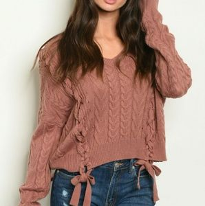 NWT Mauve Cable Knit Sweater With Lace Detail